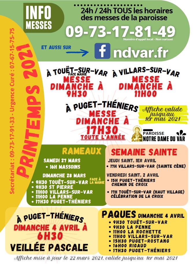 Messe de PAques à Puget Thinners , Touët, Villars-sur-Var